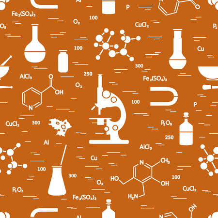 A Seamless pattern with variety scientific, education elements for  poster or print.