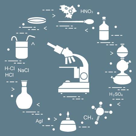 Chemistry scientific, education elements: microscope, Petri dish, dropper, flasks, camera Kippa, formulas, beaker, burner and amoeba.