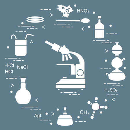 Chemistry scientific, education elements: microscope, Petri dish, dropper, flasks, camera Kippa, formulas, beaker, burner and amoeba.