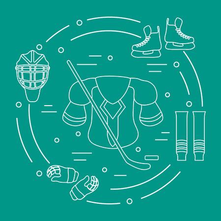 Hockey equipment icons set. Winter sports elements. Skates, gloves, helmet, shoulder pads, hockey stick, hockey socks, ice hockey puck. Vector illustration.