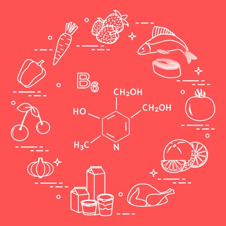 Foods rich in vitamin B6. Carrot, strawberry, fish, tomato, orange, chicken, milk, dairy products, yogurt, garlic, cherries, peppers. Vector illustration. Ilustracja