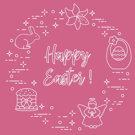 Easter symbols - Easter cake, basket, eggs, rabbit, flowers, angel. Vector illustration. Stock Illustratie