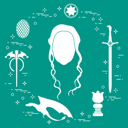 Fantasy icons - girl, dragon, sword on green background. Vector illustration. Illusztráció