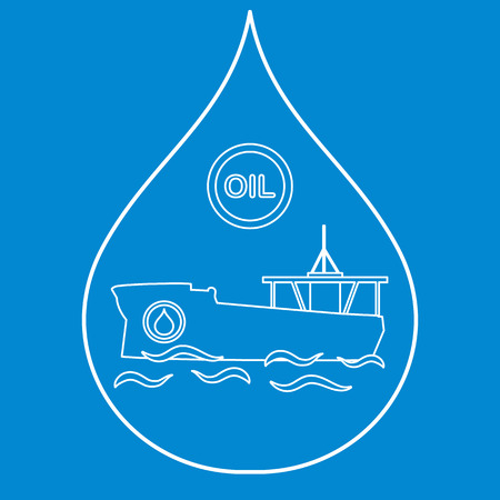 Drop inside which a tanker carrying oil. Production and transportation of oil Vector illustration.
