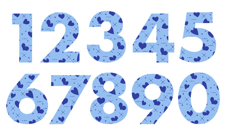 Arabic numerals, painted with a colorful background with hearts. Vector illustration.