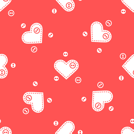 Cute seamless pattern with needle cases in shape of hearts and buttons. Vector illustration. Illustration