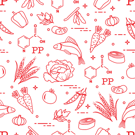 Seamless pattern with foods rich in vitamin PP. Beans, fish, tomato, soy beans, peas, garlic, wheat, carrots, spinach, cabbage, pepper. Vector illustration. Illustration