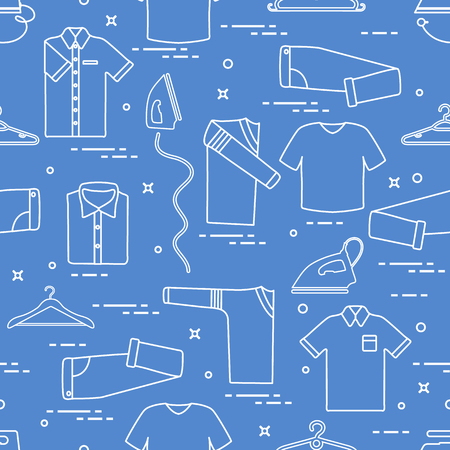 Seamless pattern with irons, clothes hangers and different clothes.