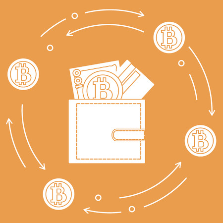 Purse with banknote, credit card and bitcoin. Design for announcement, advertisement, banner or print. Foto de archivo - 99053182