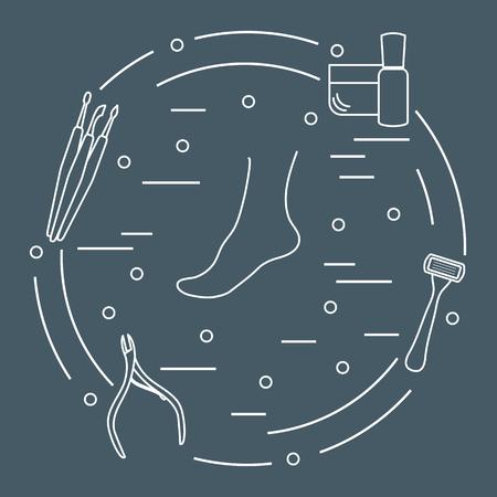 Strumenti e prodotti per pedicure per la bellezza e la cura. Crema, prodotto per la cura delle unghie, rasoio, tagliaunghie, strumenti per la pulizia delle unghie, raschietto. Archivio Fotografico - 99144238