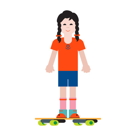 Girl and her skateboard. Sport and active leisure.
