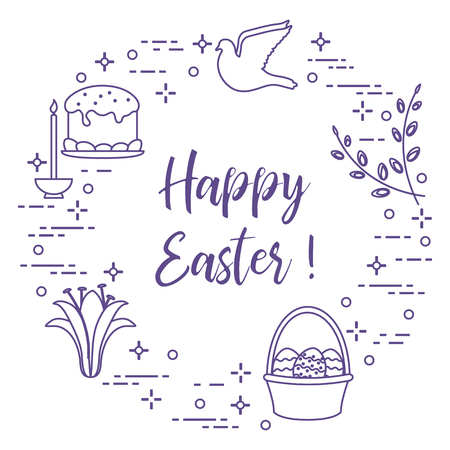 Easter symbols. Easter cake, willow branches, basket, eggs, lily, candle, dove.