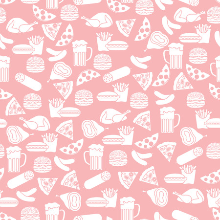 Seamless pattern with different foods. Design for banner and print.  イラスト・ベクター素材