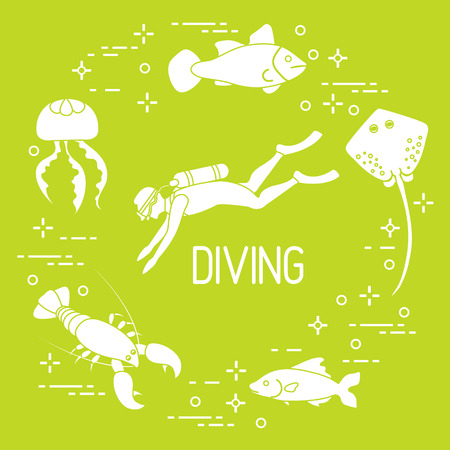 Diver, jellyfish, lobster, stingray, fish icon. Sports and recreation theme.