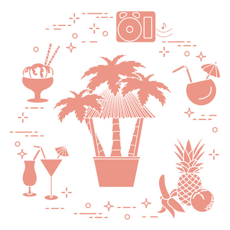 Bar on the beach, palm trees, cocktails, ice cream, music speakers, banana, pineapple, orange icon.