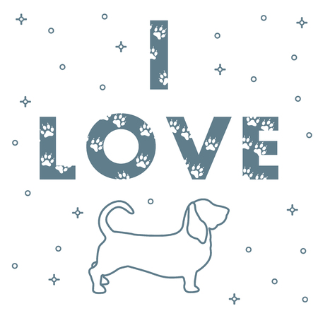 Phrase: I Love and dog. The message is decorated with traces, template for design, print.