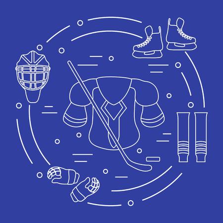 Skates, gloves, helmet, shoulder pads, hockey stick, hockey socks, ice hockey puck. Hockey equipment, winter sports elements.