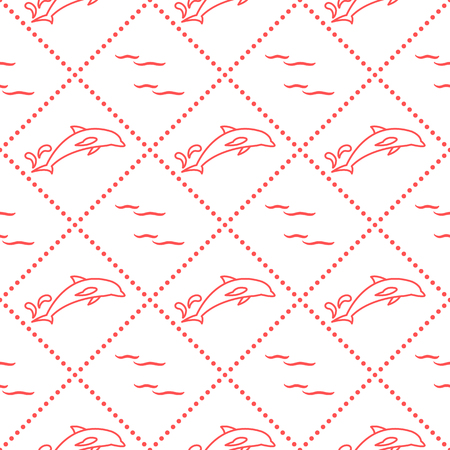 Dolphins, splashes and waves seamless pattern. Design for banner and print. Vettoriali