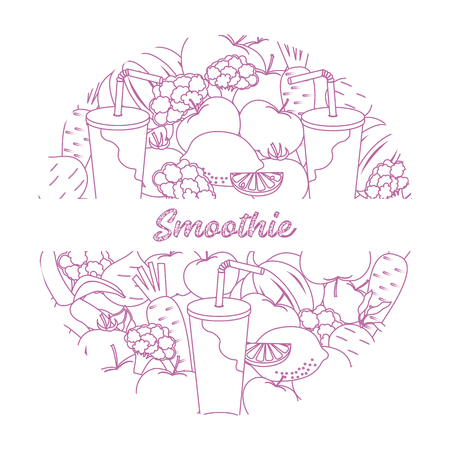 Smoothie and ingredients for making smoothie, healthy eating habits icon. Design for banner and print.