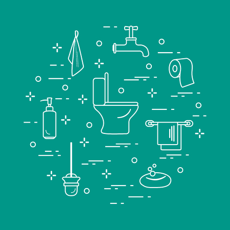 Toilet bowl, toilet paper, soap dispenser, brush for toilet bowl, soap, towels, faucet, towel hooks. Design for poster or print.