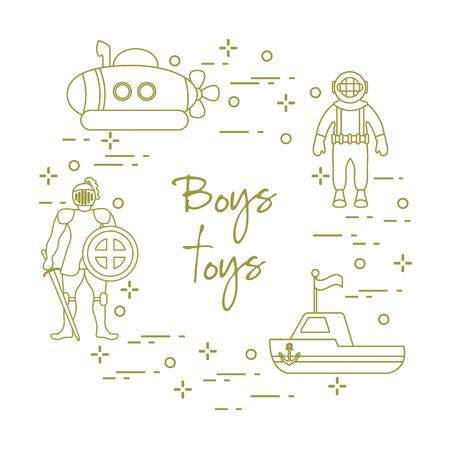 Children's toys for the boy: knight with shield and sword, submarine, diver, ship. Design element for postcard, banner or print.