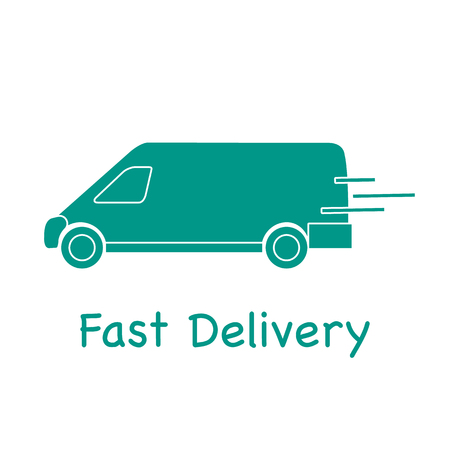 Delivery truck. Fast and convenient shipping. Free delivery. Illustration