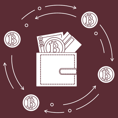 Purse with banknote, credit card and bitcoin. Design for announcement, advertisement, banner or print. Foto de archivo - 99393316