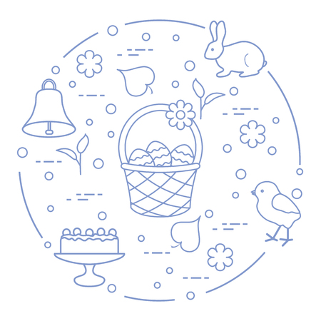 Easter symbols. Simnel cake, basket, eggs, bell, rabbit, chick, flowers, sprouts, leaves.