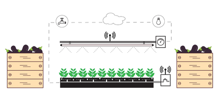 Smart farm and agriculture. Monitoring and control of temperature, humidity, light level. 矢量图片