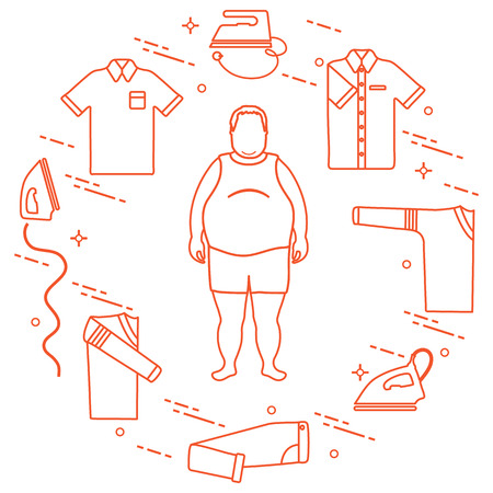 Fat man, irons, folded trousers, t-shirt, jumper, shirt. Design for banner and print.