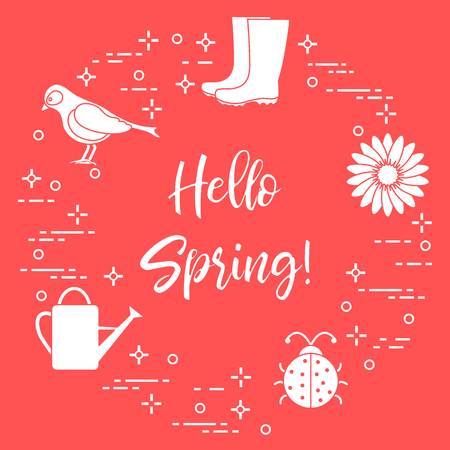 Rubber boots, bird, flower, watering can, ladybug. Phrase: Hello spring template for design, print.
