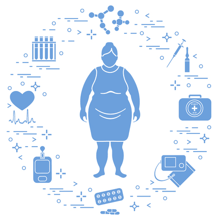 Fat woman, medical devices, tools and medicines, health and treatment.
