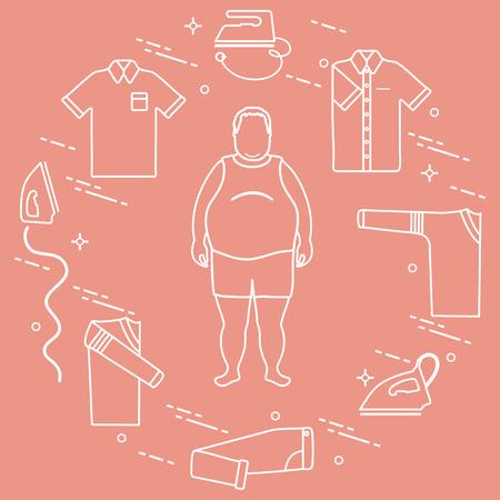뚱뚱한 남자, 다리미, 접힌 바지, 티셔츠, 점퍼, 셔츠. 배너 및 인쇄를위한 디자인. 일러스트