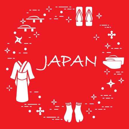 Traditional Japanese clothing, shoes and shurikens. Japan traditional design elements. Illustration