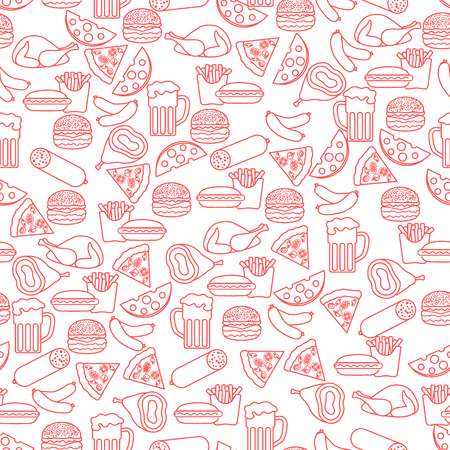 Different foods seamless pattern. Design for banner and print.