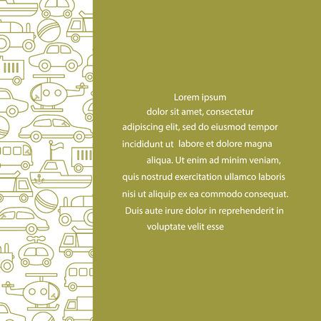 Children's toys: trucks, cars, bus, dump, ball, boat, helicopter. Design for poster or print. Foto de archivo - 99730962