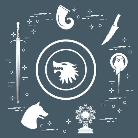 Symbols of the popular fantasy television series. Art and cinema theme. Stock Illustratie