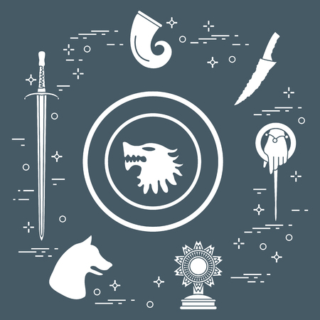 Symbols of the popular fantasy television series. Art and cinema theme. Иллюстрация