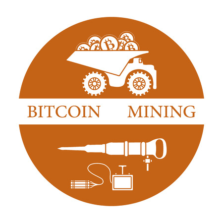 Mining of bitcoins. Dumper with bitcoins, dynamite and jackhammer. Digital currency. Blockchain technology.