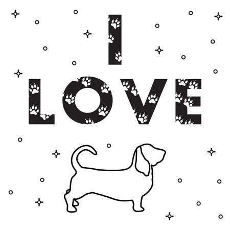 Phrase: I Love and dog. The message is decorated with traces. Template for design, print. Illusztráció