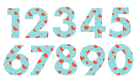 Arabic numerals, painted with a colorful background with hearts.Template for design, fabric, print.