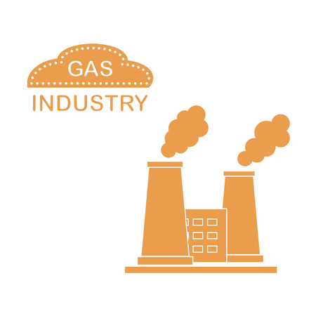 Gas processing plant with smoking chimneys. Industrial theme. Design for announcement, advertisement, banner or print.