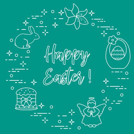 Easter symbols. Easter cake, basket, eggs, rabbit, flowers, angel. Design for banner and print.