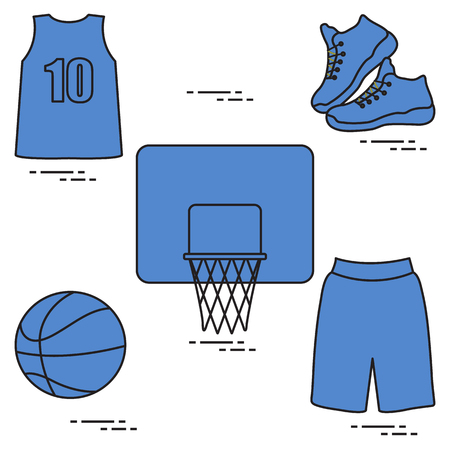 Sports uniform and equipment for basketball. Basketball basket, shirt, sneakers, shorts, ball.