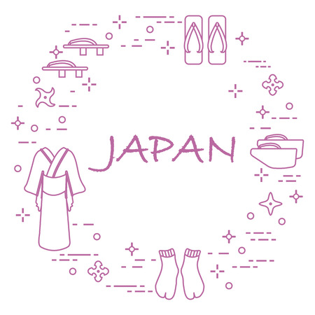Traditional Japanese clothing, shoes and shurikens. Japan traditional design elements. Vettoriali