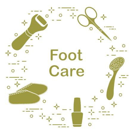 Hulpmiddelen voor pedicure. Nagellak, elektrische voetvijl, puimsteen, schaar, siliconensokken. Persoonlijke verzorging illustratie. Vector Illustratie