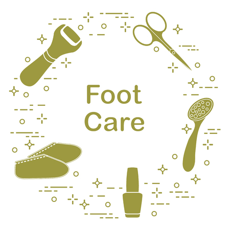 Tools for pedicure. Nail polish, electric foot file, pumice, scissors, silicone socks. Personal care illustration.  イラスト・ベクター素材