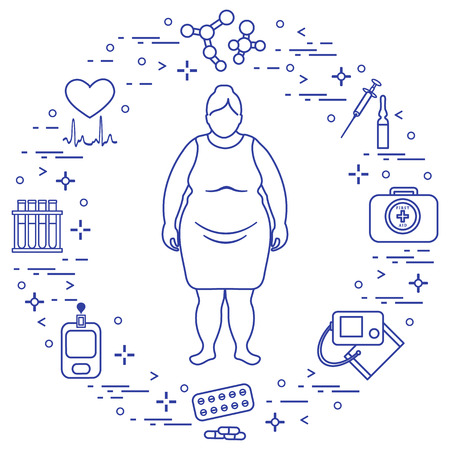 Fat woman, medical devices, tools and medicines. Health and treatment.  イラスト・ベクター素材