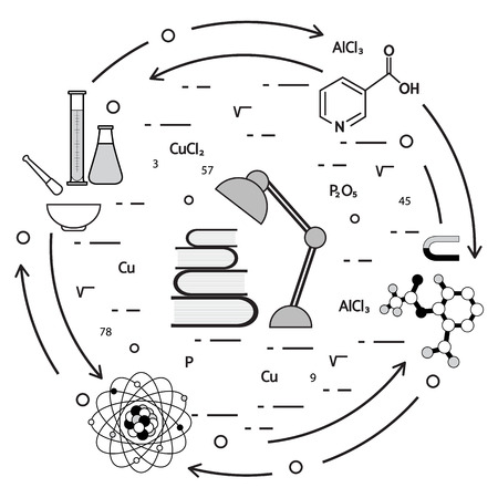 Scientific, education elements illustration. Table lamp, books, flask, beaker, mortar, pestle, crystal lattice, molecule, magnet, atomic nucleus.