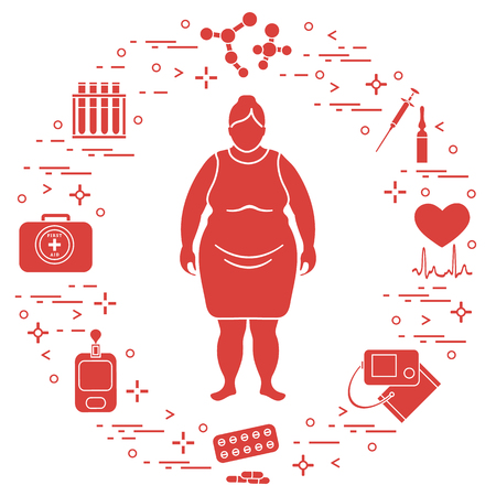 Fat woman, medical devices, tools and medicines. Health and treatment. 向量圖像
